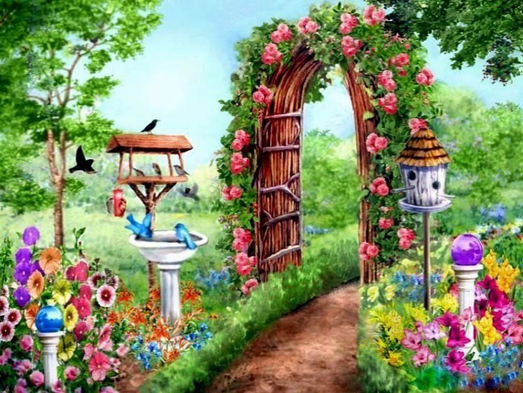 Картинка с изображением сада
